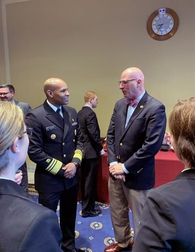 John W. Robitscher, NACDD CEO, shares his views with U.S. Surgeon General VADM Dr. Jerome Adams on the importance of investing in state programs to help improve physical activity within communities.