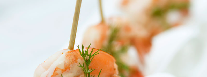 Delicious looking skewered shrimp.