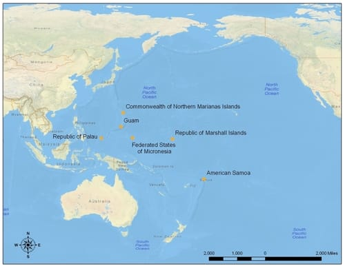 A map of the Pacific Ocean.
