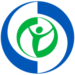 NACDD trademark in blue and green, a person with their arms raised surrounded by two circles.