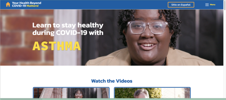 Screenshot of the Homepage of YourHealthBeyondCOVID.org