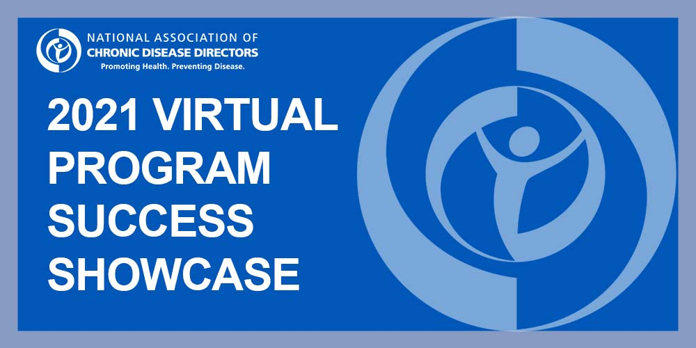 """Blue graphic with """"2021 Virtual Program Success Showcase"""" on it with NACDD's logo in light blue"""